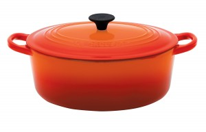 Le Creuset oval casserole dish in Volcanic Orange