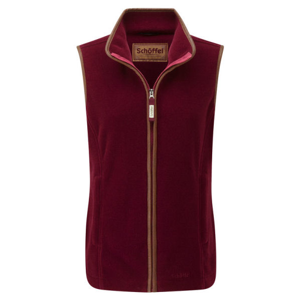 Ladies Schoffel Lyndon Fleece Gilet in Ruby Red