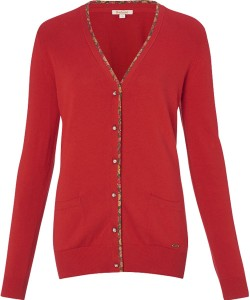Barbour Alma Knit Cardigan in Scarlet Red & May Fair