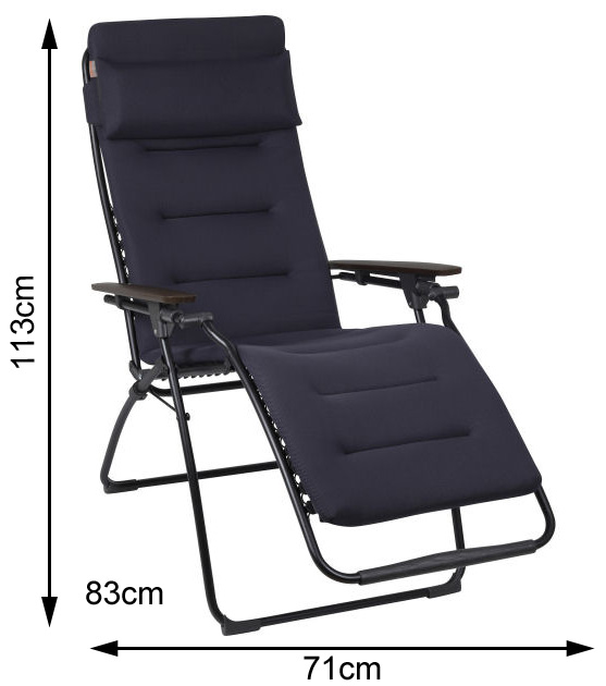 Measurements of an open Lafuma Futura Air Comfort Recliner