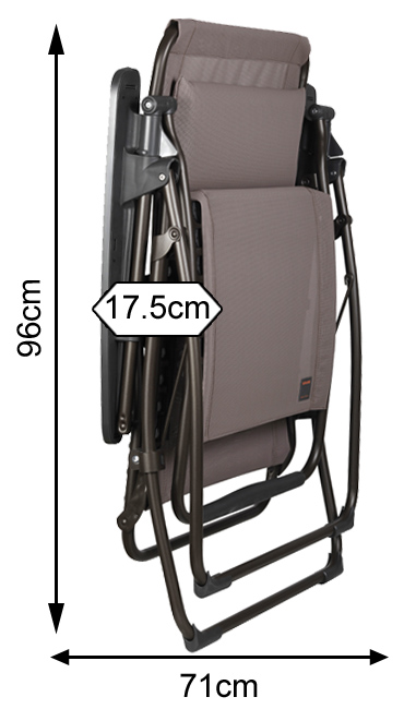 Measurements of a folded Lafuma Futura Clip Recliner