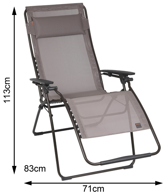 Measurements of an open Lafuma Futura Clip Recliner