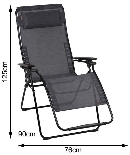 Measurements of an open Lafuma Futura XL Recliner