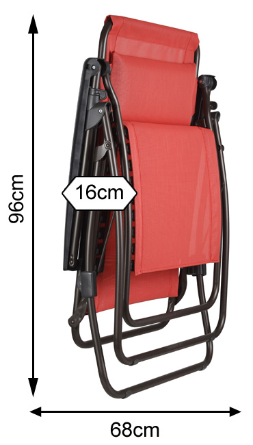 Measurements of a folded Lafuma R Clip Recliner