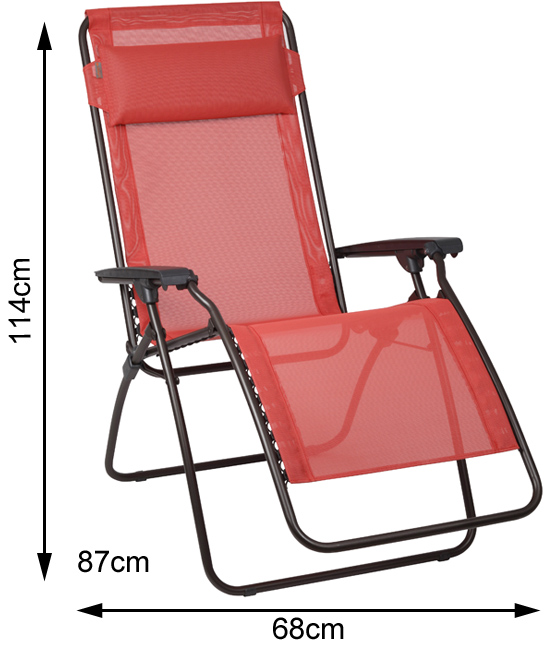 Measurements of an open Lafuma R Clip Recliner