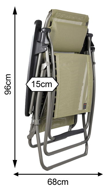Measurements of a folded Lafuma RS Clip Recliner