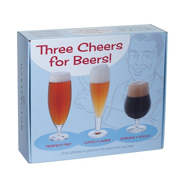 Perfect Pint, Lovely Lager and Strong and Stout - Three Cheers for Beers Glass Gift Box