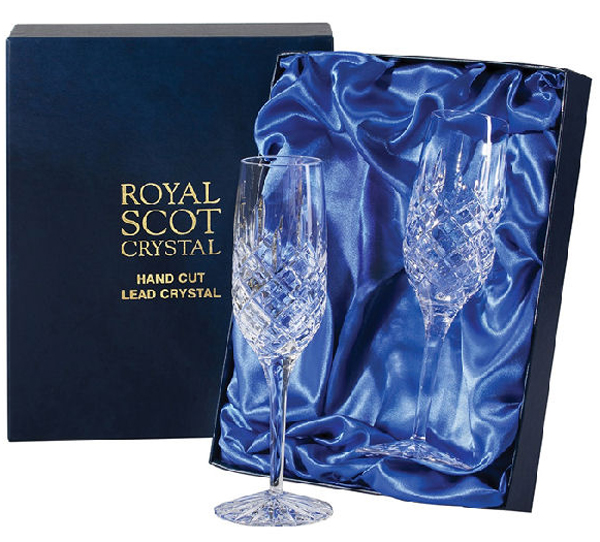 Pair of Royal Scot Crystal London Champagne Flutes - £42.50