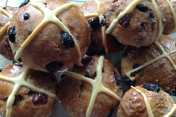 Cranberry, Orange and Mixed Fruit Hot Cross Buns