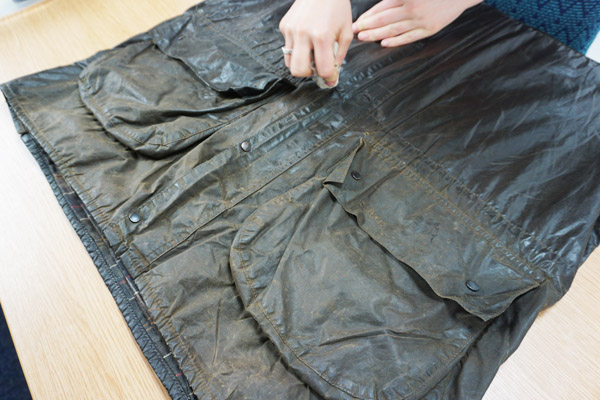 Make sure you re-wax under the pocket flaps, along the seams and around the buttons