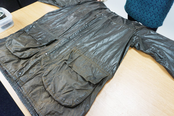 The wax will leave the jacket with a shiny appearance