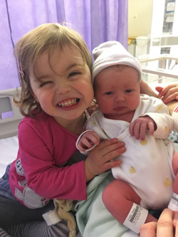 Willow and baby sister Niamh